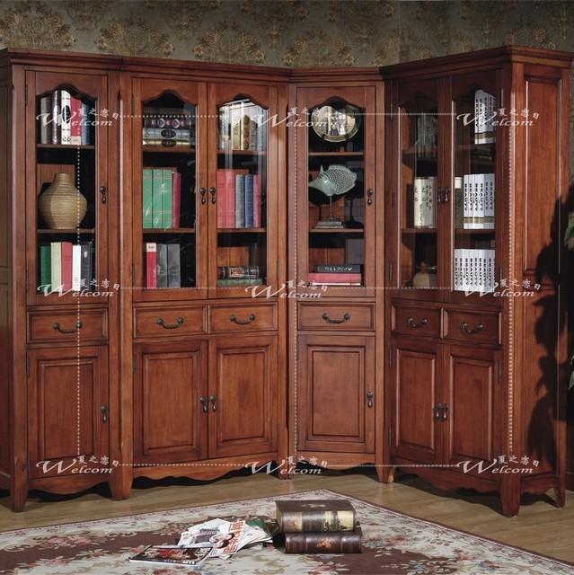 mode biblioth que coin biblioth que am ricaine classique biblioth que bois sculpture bureau de. Black Bedroom Furniture Sets. Home Design Ideas