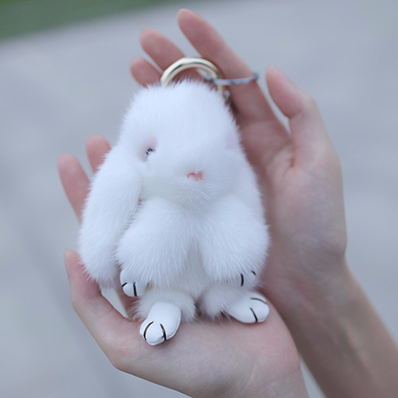 Myfur Genuine Mink Fur Made White Rabbit Fur Key Chain For Bag Charm  Accessory ... 09a72f69d94f