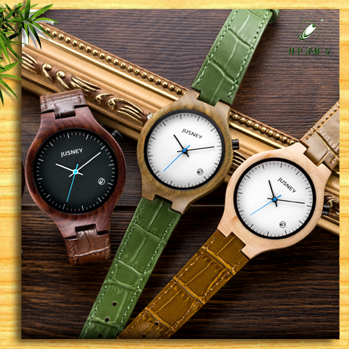 wood detail leather bamboo custom wrist we men and watch fashion handmade wholesale watches logo strap product cheap