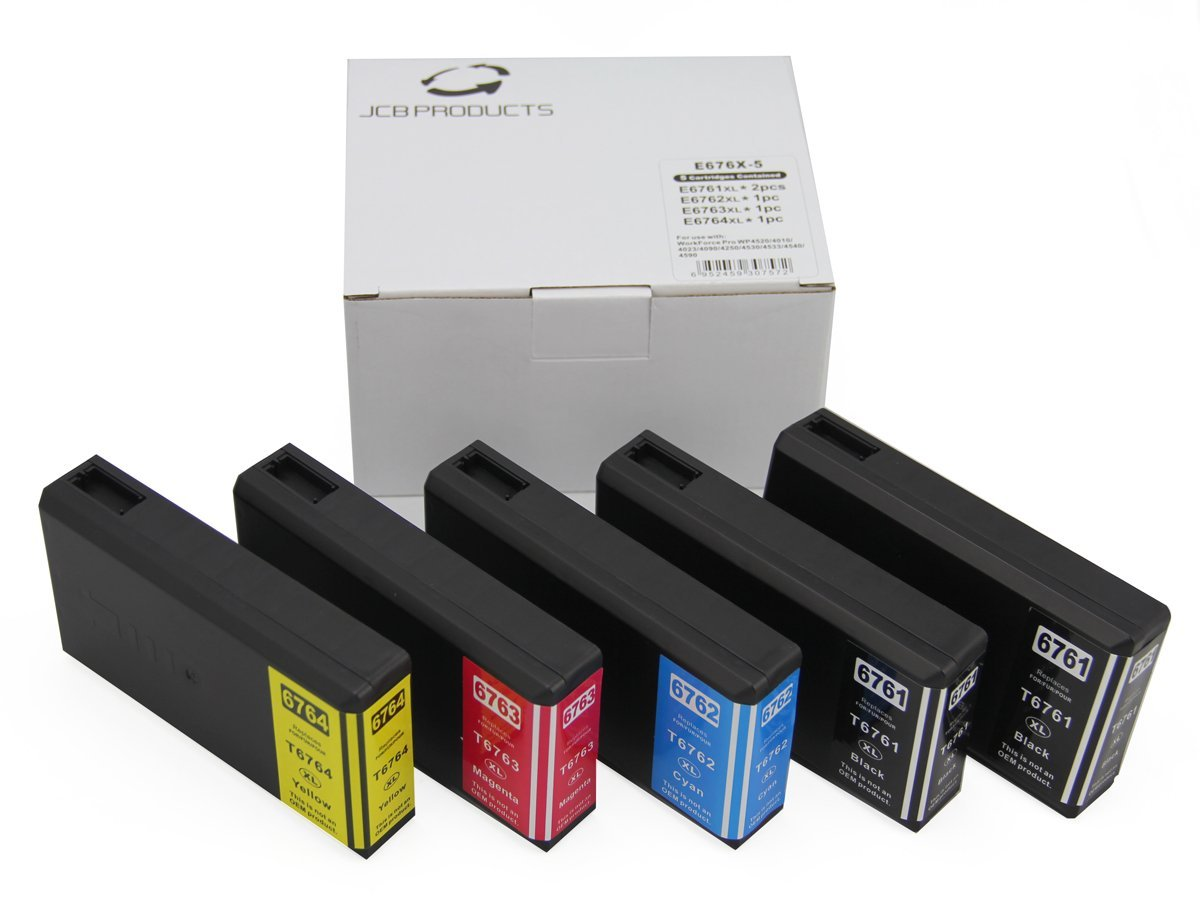 JCB Products Compatible Ink Cartridge Replacement For Epson T676XL (Black, Cyan, Magenta, Yellow, 5-Pack) Ink
