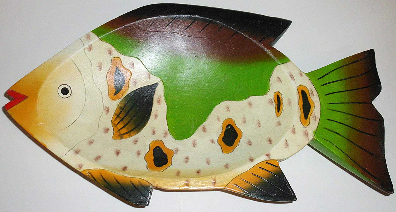 "BALSA WOOD BOWL - FISH - GREEN / BROWN / GOLD WHITE / RED - PICH0006 - 8"" X 15"" - 1960's"
