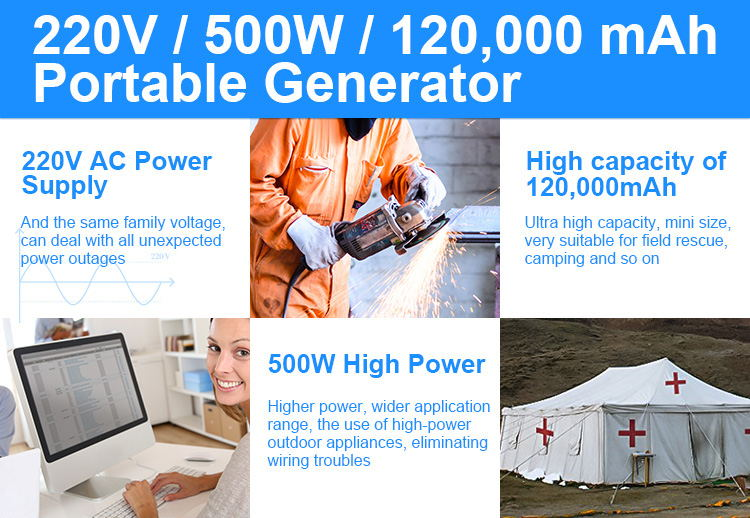 wholesale 120000mah 500WH power bank storage solar energy generator high quality with safety test solar power storage generator