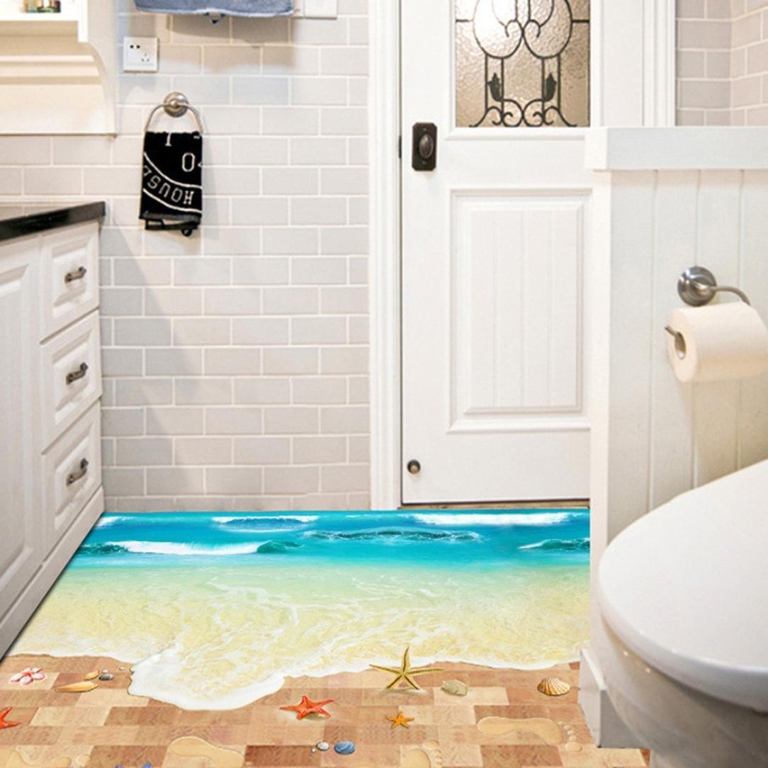 Usstore 3D Beach Floor Wall Stickers Nursery Family Home Room Decor Decoration Vinyl Art Mural