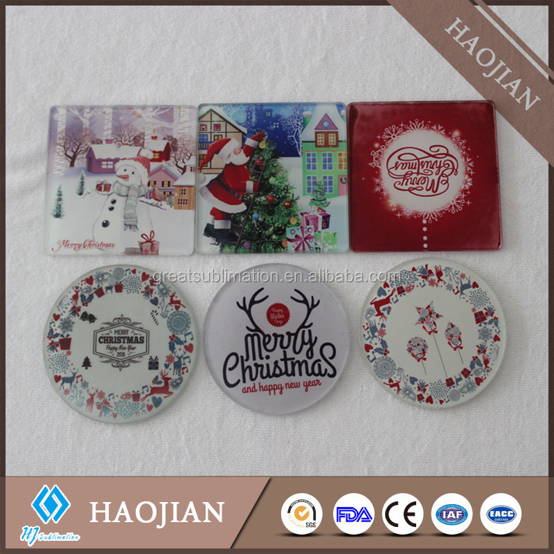 clear glass photo coasters blank glass photo coaster with coating Christmas decoration