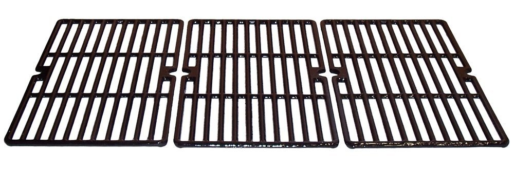 Music City Metals 66613 Gloss Cast Iron Cooking Grid Replacement for Gas Grill Model Kenmore 415.16661, Set of 3