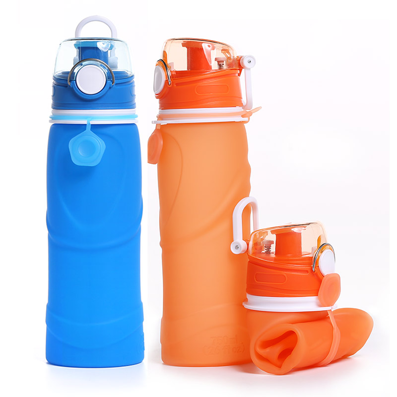 750ML Custom Eco-friendly Leakproof Collapsible Silicone Outdoor Sport Water <strong>Bottle</strong>
