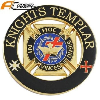 Tempeliers Vrijmetselaars Cross Crown Black 3 ''Gold Ronde Car Auto Embleem
