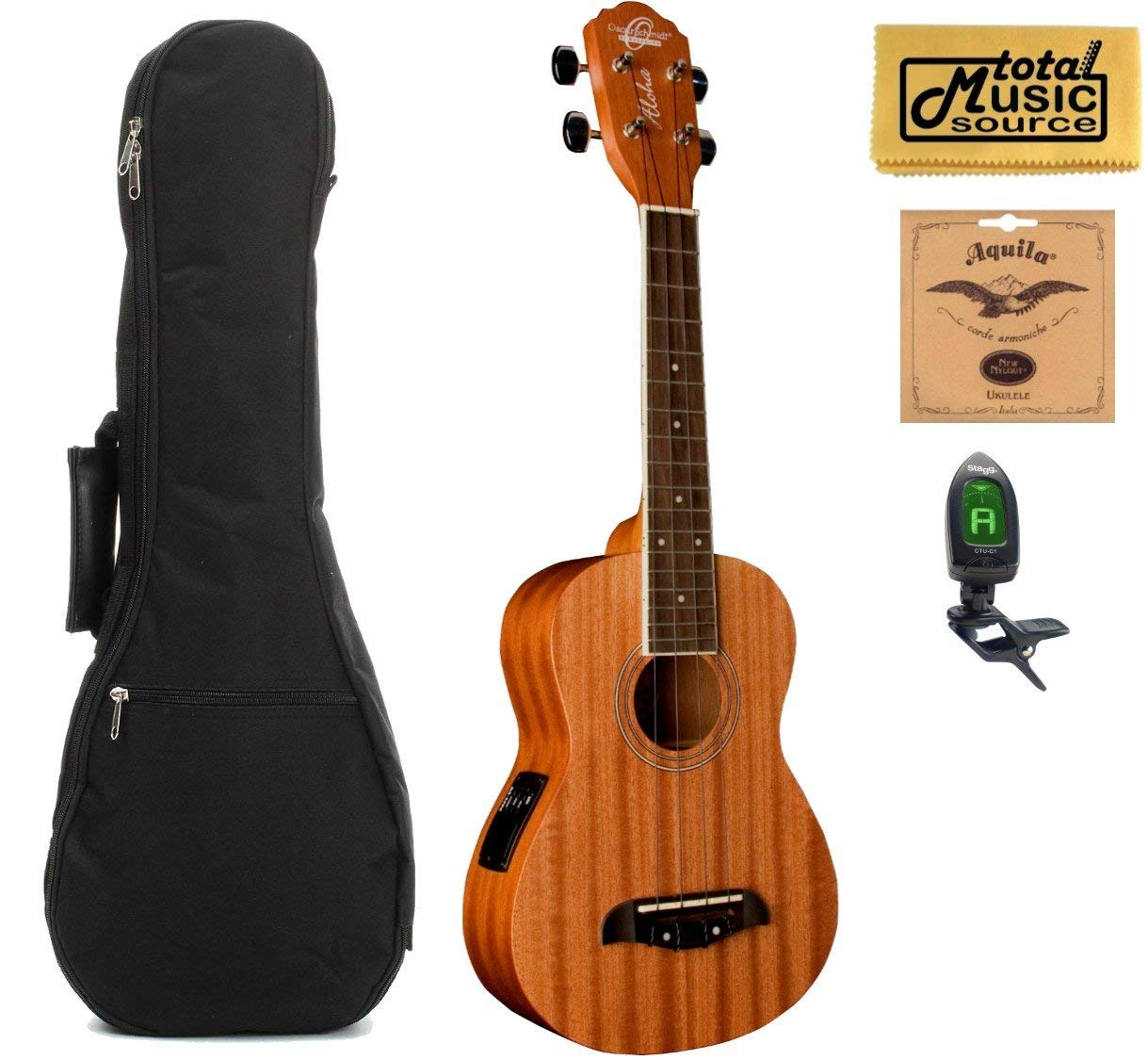 Oscar Schmidt Concert Active EQ, Acoustic Electric Ukulele, OU2E w/Padded Gigbag,Tuner,Strings & PC