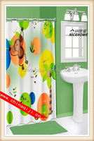 2014 new style printed peva shower curtains with magnets