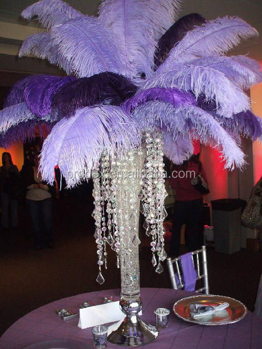 Tall wedding candelabra centerpiece ostrich feather