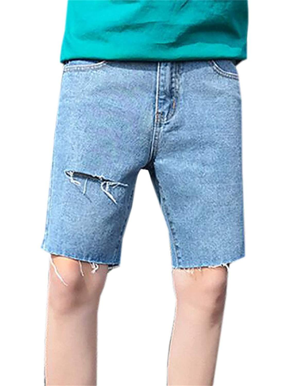 29c1daf596 Get Quotations · YUELANDE-Men Straight Leg Jean Shorts Slim Fit Ripped  Denim Shorts