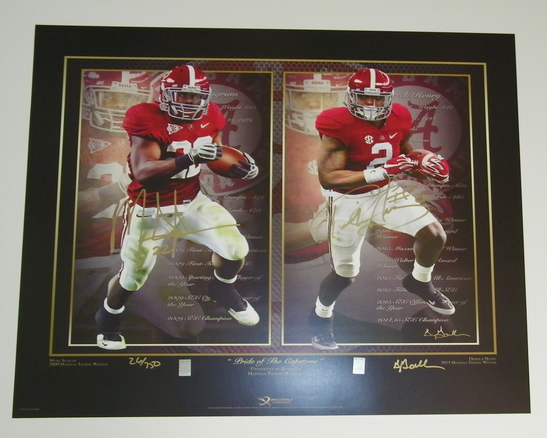 Derrick Henry & Mark Ingram Signed Autographed Auto UA Alabama Crimson Tide Heisman Football Print - Proof