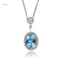 43211-xuping jewellery fashion handmade blue stone ladies necklace,Crystals from Swarovski