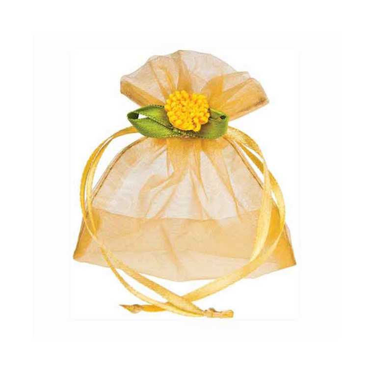 Beauty luxury design OEM cheap gold organza jewelry drawstring gift bag custom for candy