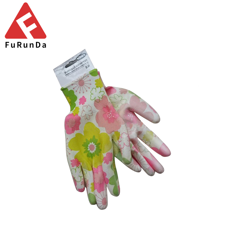 13 gauge polyester pu dipping glove lady work use