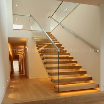 Moderno Vidrio Recta Escaleras De Madera Para Interiores tico