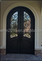 merlin arch top high quality wrought iron front door with contracted style