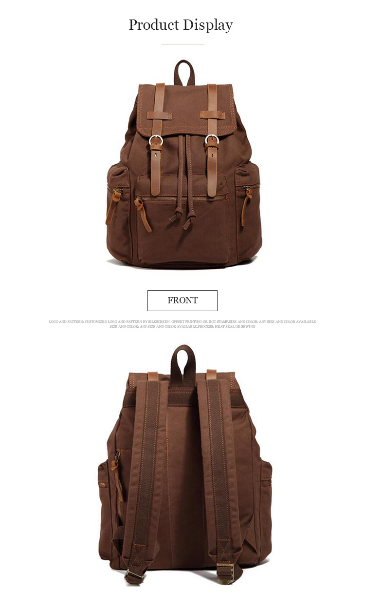 High quality comfortable outdoors travel vintage mens canvas backpack custom back pack