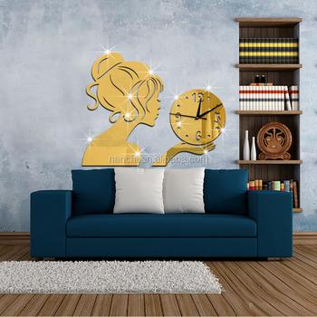 Creative Girl Holding Clock Mirror Wall Sticker Tv Studio Or ...