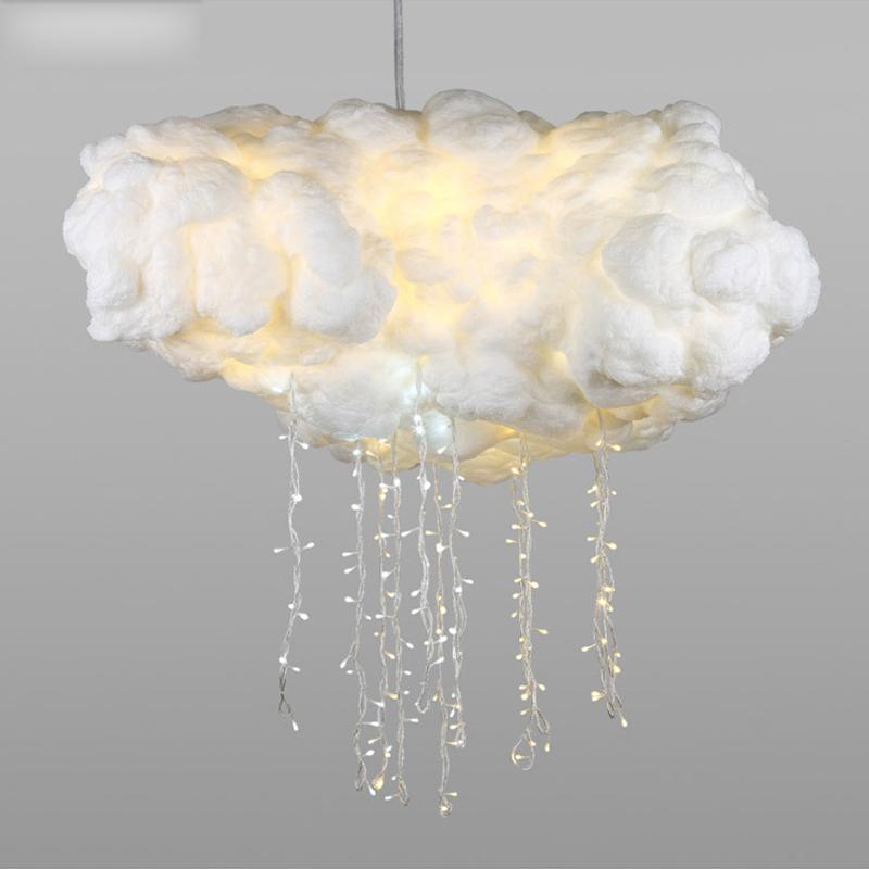 Pendant Lights Lights & Lighting Nordic Creative Fiber Cotton Cloud Pendant Lights For Kids Bedroom Dining Room Coffee Hanging Lamp Art Deco Lighting Fixtures