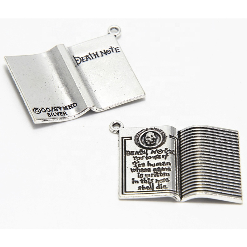 Death note Charms Antiqued silver Tone Halloween Thema Gothic Boek charm hangers 35x27mm