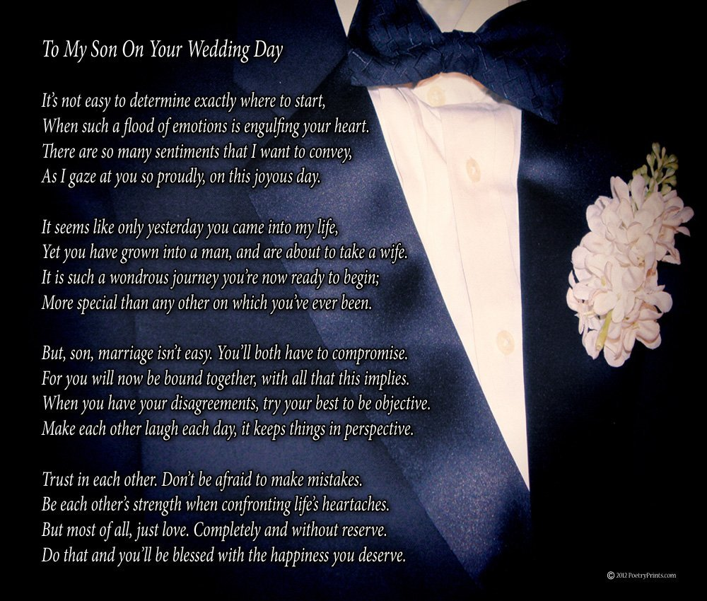 To My Son On Your Wedding Day One Pa Poem Print 8x10