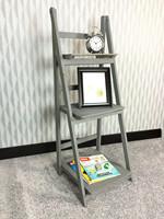 3 tier ladder display free standing folding wood book shelf , folding setp books shelves