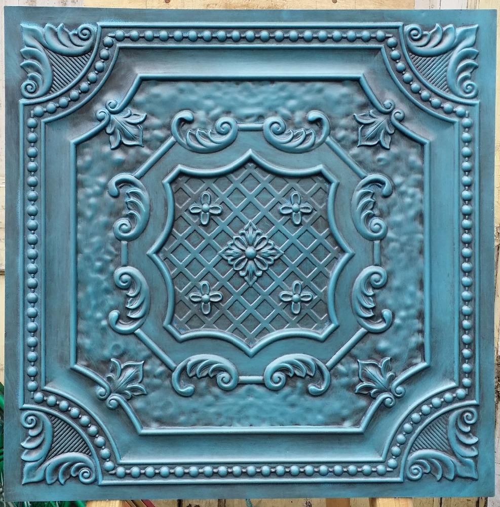 pl faux pintura lata antigedades de estilo art d en relieve azulejos del techo tienda de