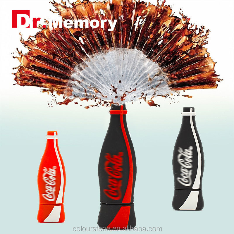 Dr.memory Custom 2d cola bottle/water bottle shape usb flash pen drive 2.0 wholesale 2GB 8GB 4GB 16GB 32GB with full capacity