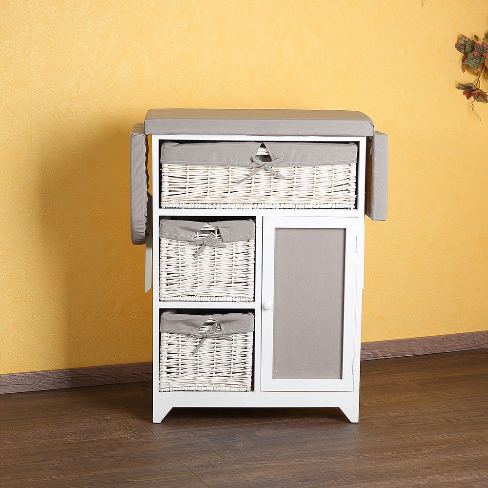 2-in-1 Dresser + Ironing Table Ironing Board with Wicker Baskets