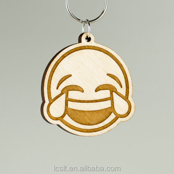 promotional bamboo wood emoji cheap key chain