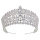 Echsio High Quality Charm Wedding Crown Tiara King Bridal Crown For Lady Custom Pageant Sliver Plated Jewelry BC3810