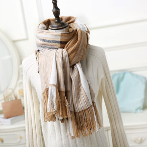 Multi-layer tassel 100%acrylic wholesale winter lady scarf