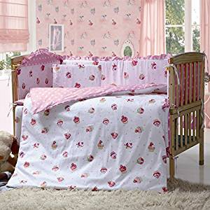 Pink Color Girls Crib Bedding Sets,7 Pieces Baby Crib Bumper With Quilt,Pink Princess Cot Bumper Bedding Sets for Baby,Size 55.1'' x 27.5'' 140 x 70 CM