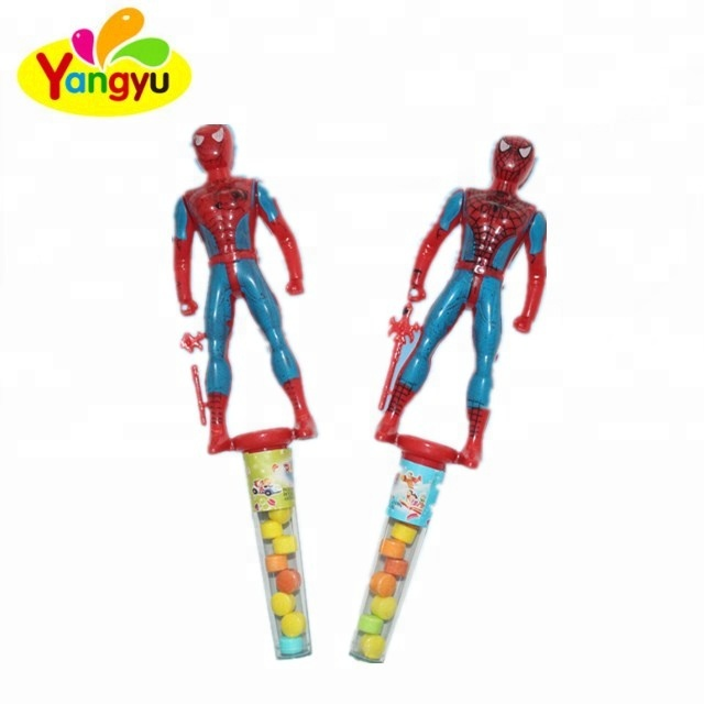 Tray packing plastic cartoon spiderman toy sweet tablet candy with balloon