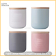 Colored Ceramic Candle Jars with Bamboo lid for massage