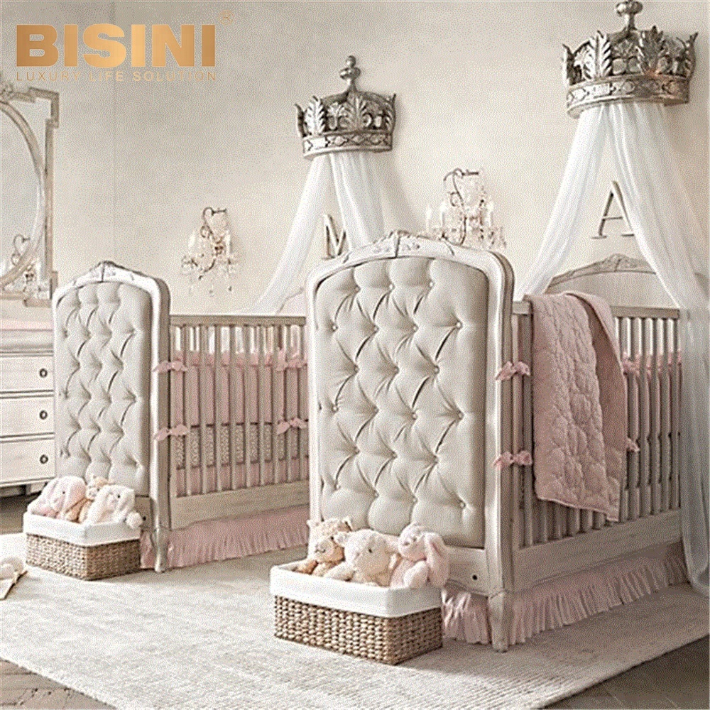 Bisini French Style Elegant Portable Baby Bed Environmental Wooden Crib Bf09 80005 New Born Product On