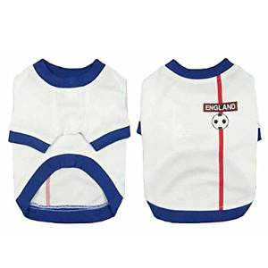 BuW England Soccer Jersey 100% Cotton for Pet Dog and Cats (S Size) dog supplies puppy sweaters dog holiday dresses