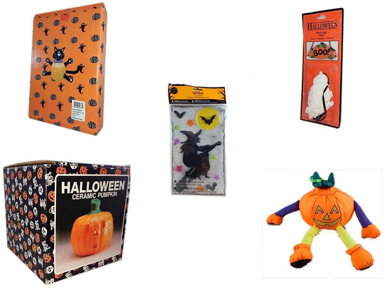 "Halloween Fun Gift Bundle [5 piece] - Halloween Cat Pumpkin Push In 5 Piece Head Arms Legs - Halloween Resin ""Boo."" Sign - Gel Clings Witch, Bats, Stars - Halloween Ceramic Pumpkin Candle Holder - P"