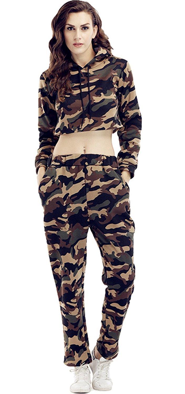 a2013beaccc9 2 Pcs Military Camo Camouflage Hood Hooded Hoodie Sweatshirt Cropped Crop  Top Sweatpants Tracksuit Set