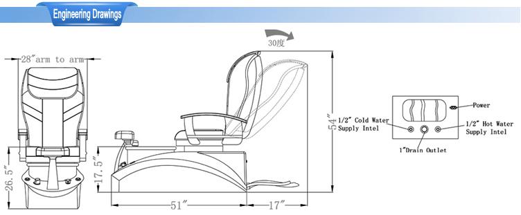 New Design Whale Spa Pedicure Chair Pedicure Chair Dimensions Kzm