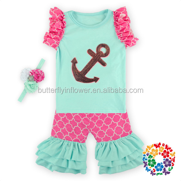 Top Quality Hot Sale Cheap Newborn Baby Clothing Set Baby Girl Summer Clothing Specialty Baby Brand Anchor Pattern Clothing