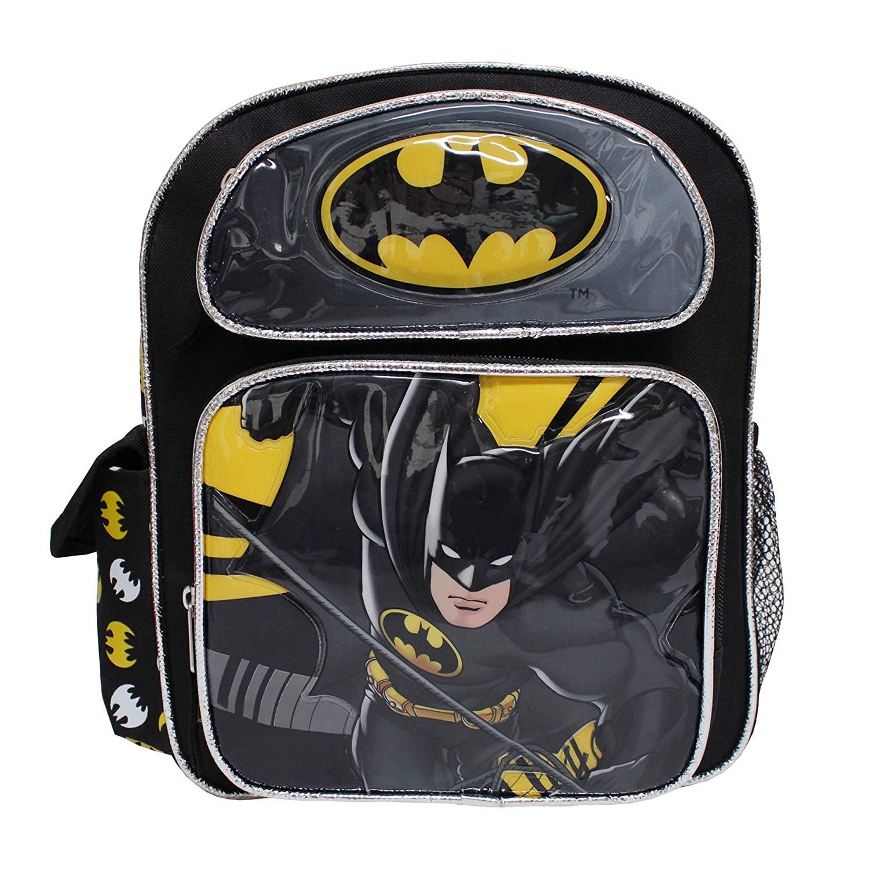 cd9e68545f Get Quotations · DC Comics Batman Black   Yellow Shiny Small Boys  School  Backpack