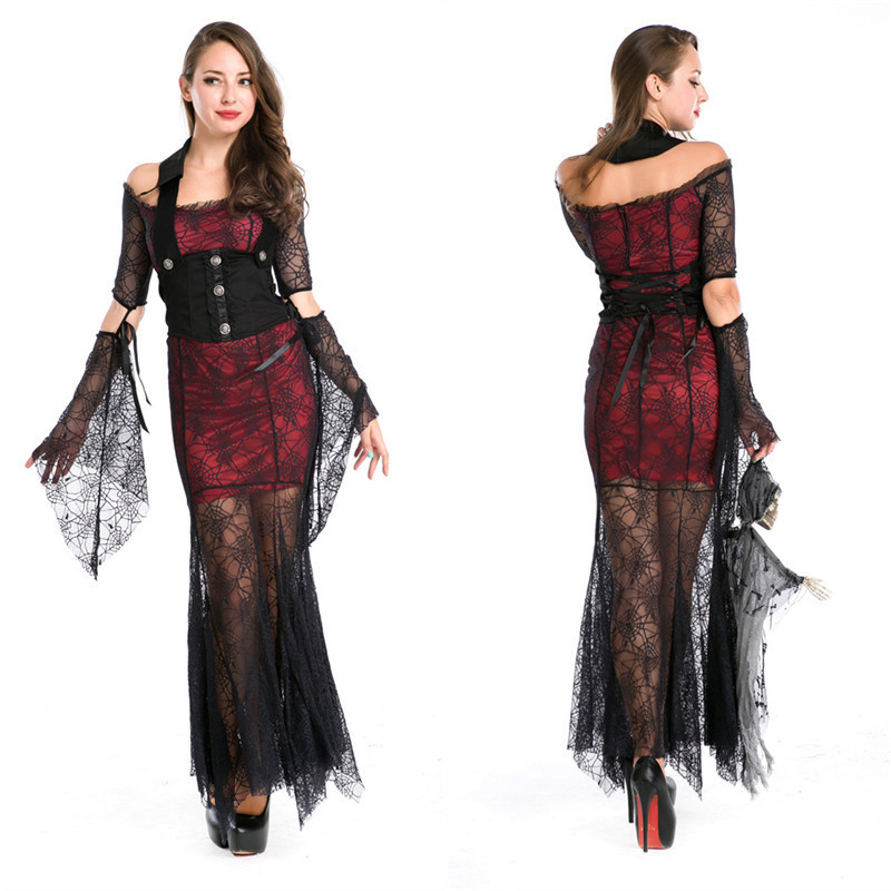 1pcs Free size The Makeup Party Female Vampire Costumes Vixen Vampire Fairy Tale Witch costume elegant Halloween Costume cosplay