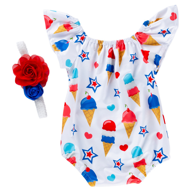 2019 summer cotton cartoon print cheap rompers flysleeve kids clothes with best quality