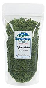 Harmony House Foods Dried Spinach Flakes (.5 oz, ZIP Pouch) for Cooking, Camping, Emergency Supply, and More