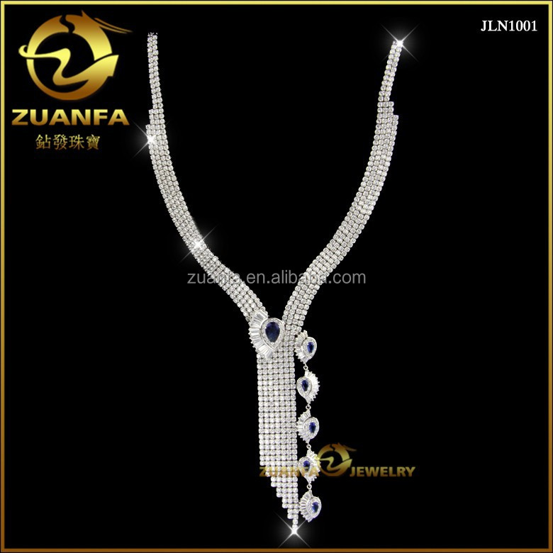 Top quality tassel wedding jewelry for women shining AAAAA cubic zirconia iced out 925 sterling silver necklace