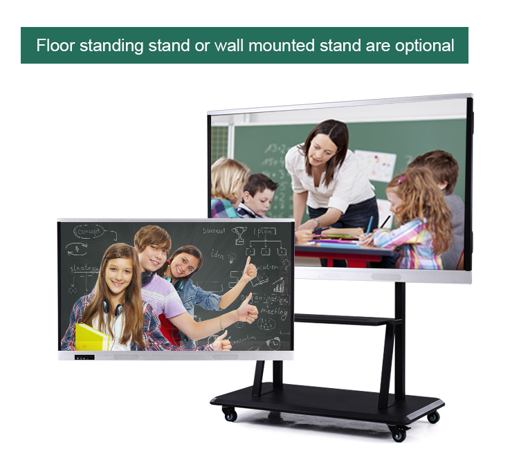Factory price 86 inch touch screen smart board interactive free standing interactive whiteboard