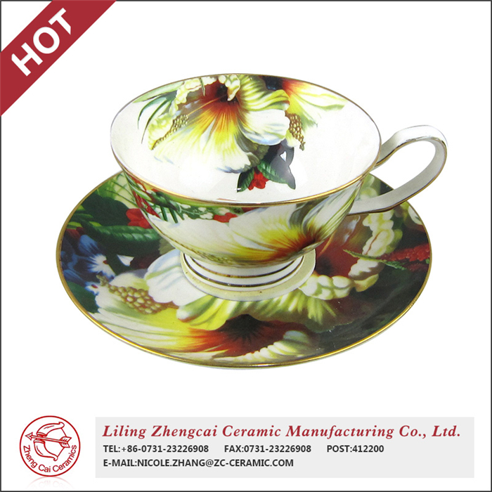 chinese flower painting coffee disposable paper tea cups and saucers