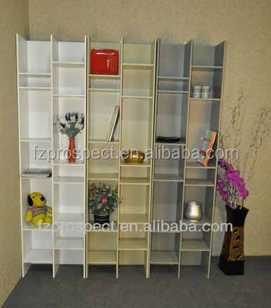 Modern design size custom fashion white solid wood bookcase furniture